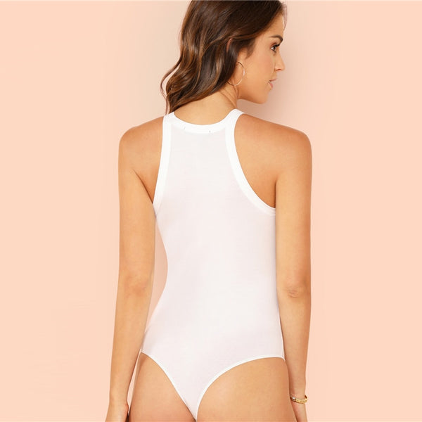 Solid Round Neck Bodysuit