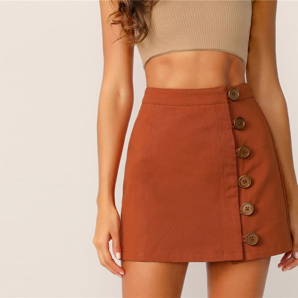 Solid Offset Button Front Skirt