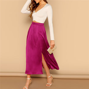 Solid Satin Split Hem Maxi Skirt