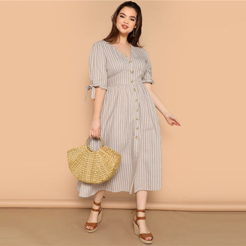 Beige Striped Knot Cuff Button Up Dress