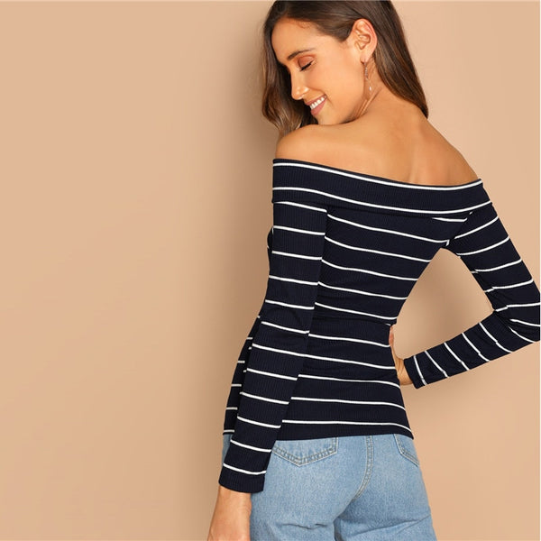Striped Cross Wrap Off Shoulder Long Sleeve Top