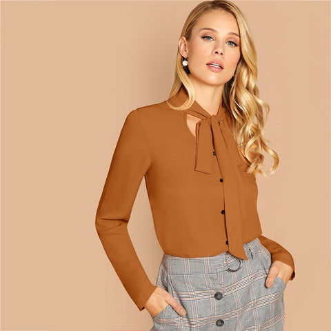 Solid Long Sleeve Tie Neck Buttoned Top