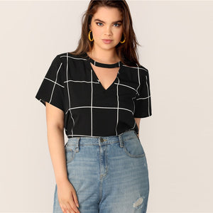 Black Plaid Grid Choker Neck Top