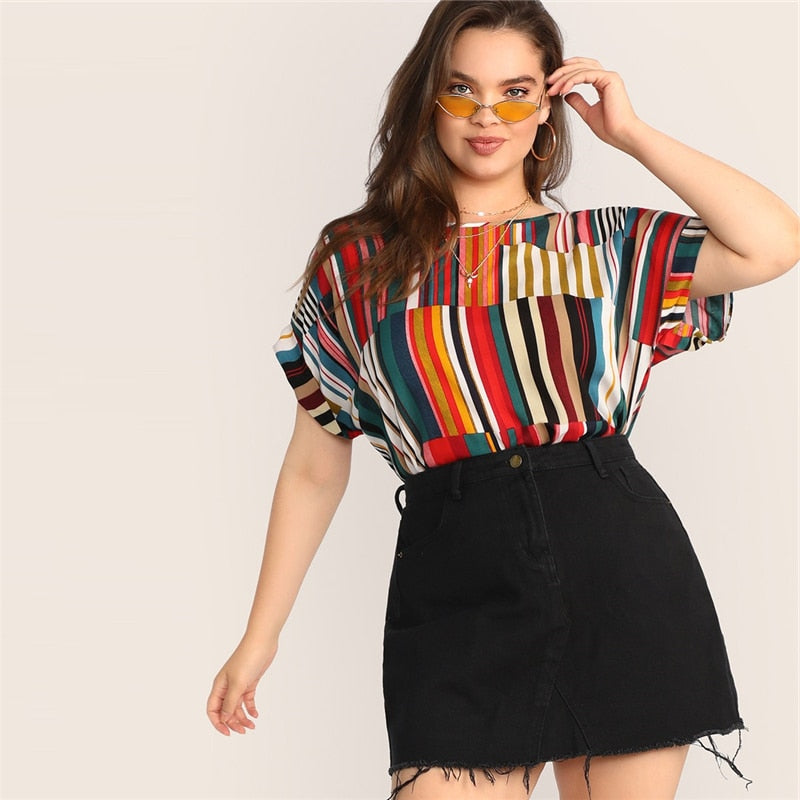 Multicolor Striped Panel Top