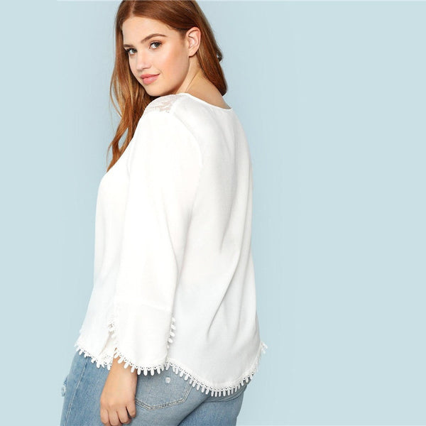 White Flare Lace Neck Top