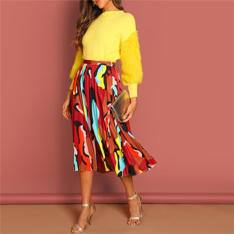 Graphic Print Pleated High Waist Long Skirt