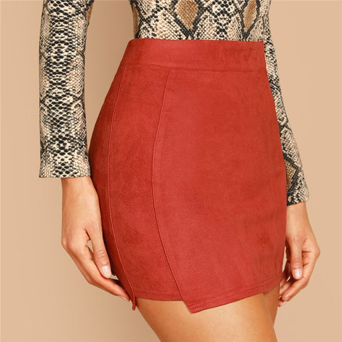 Solid High Waist Mini Skirt
