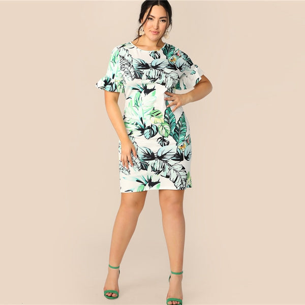 Multicolor Floral Fitted Dress