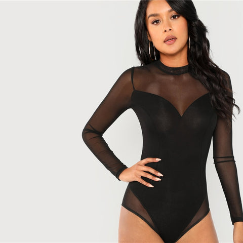 Solid Mesh Panel Mock Neck Long Sleeve Bodysuit