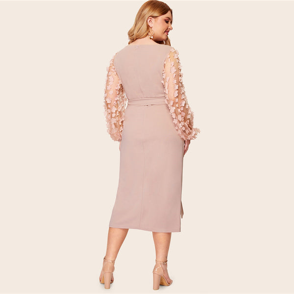 Pink Mesh Flower Sleeve Belted Dress