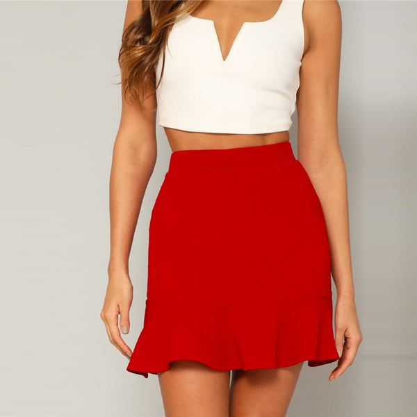 Ruffled Above Knee Skirt