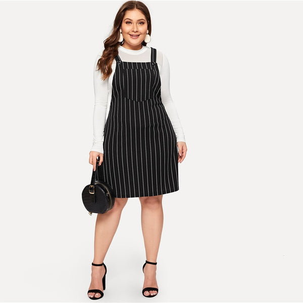 Black Striped Overall Dress