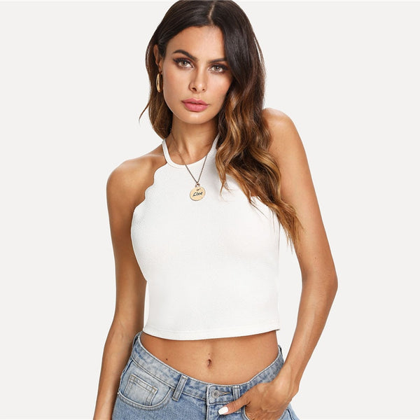 Solid Scallop Trim Halter Top