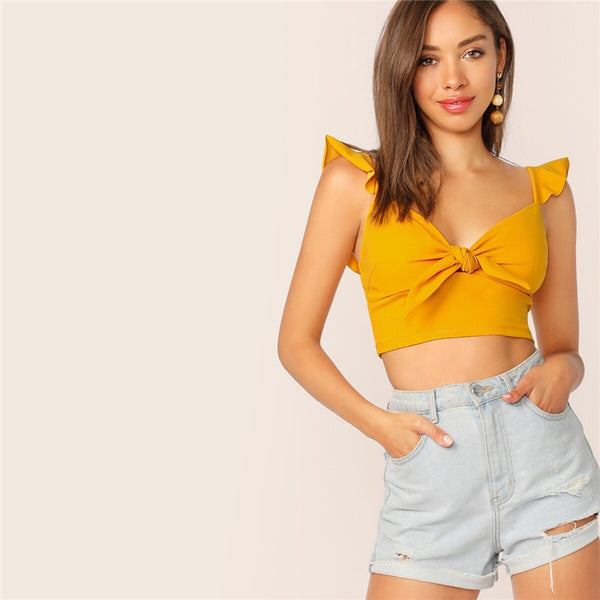 Solid Knotted Front Ruffle Strap Crop-Top
