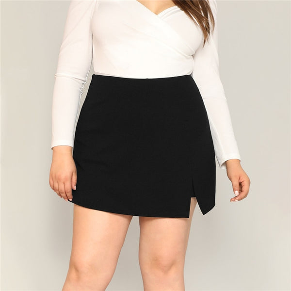 Black Casual Split Skirt