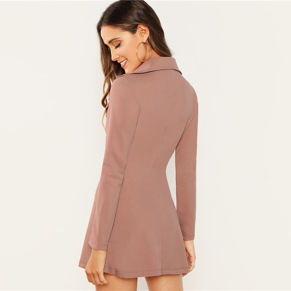 Solid Double Button Zip-Up Blazer Dress