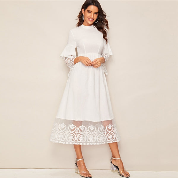 Solid Contrast Lace Embroidery Hem Dress