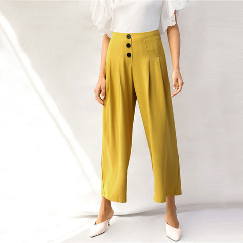 Solid Buttoned Pleated Wide Leg Pants