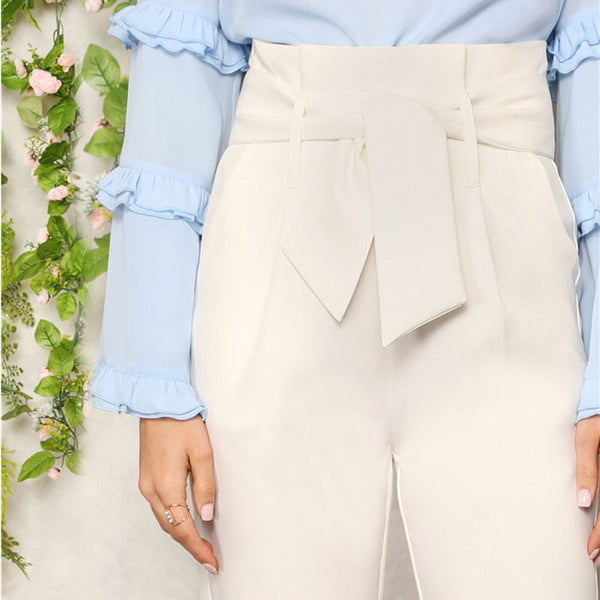 High Waist Self Belted Plain Pants