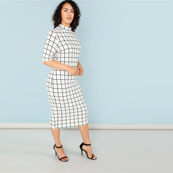 Plaid Stand Collar Long Dress