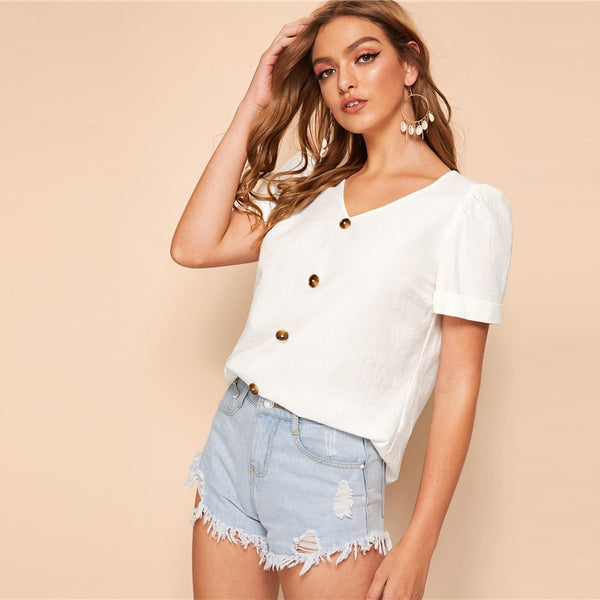 Solid V-Neck Buttoned Top