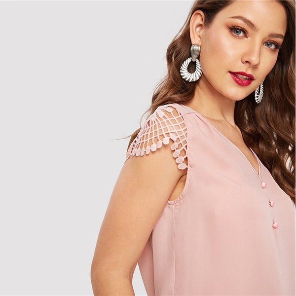 Solid Contrast Lace Button Detail V-Neck Top