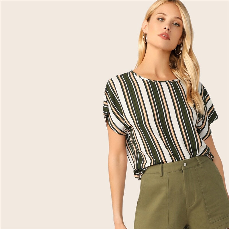 Keyhole Back Striped Top