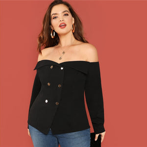 Black Off Shoulder Double Button Top