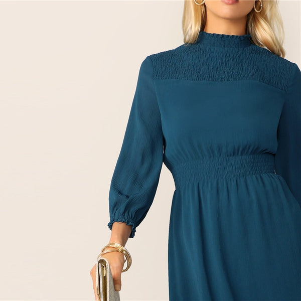 Frill Neck Shirred Yoke Midi Dress