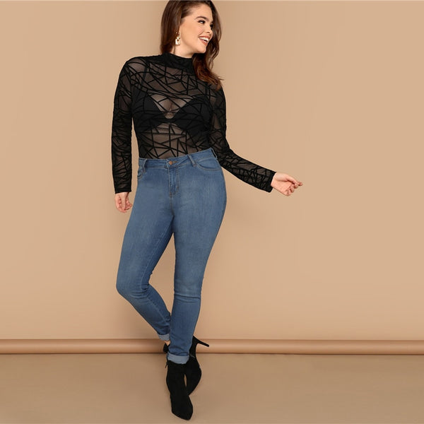 Black Geo Mesh Slim Fit Top