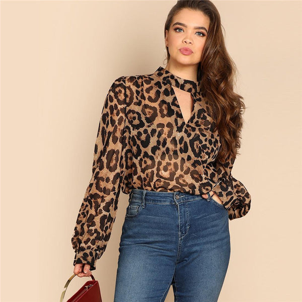 Leopard Choker V-Neck Sheer Top