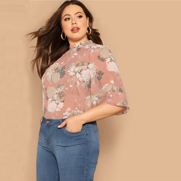 Pink Floral Curved Hem Top