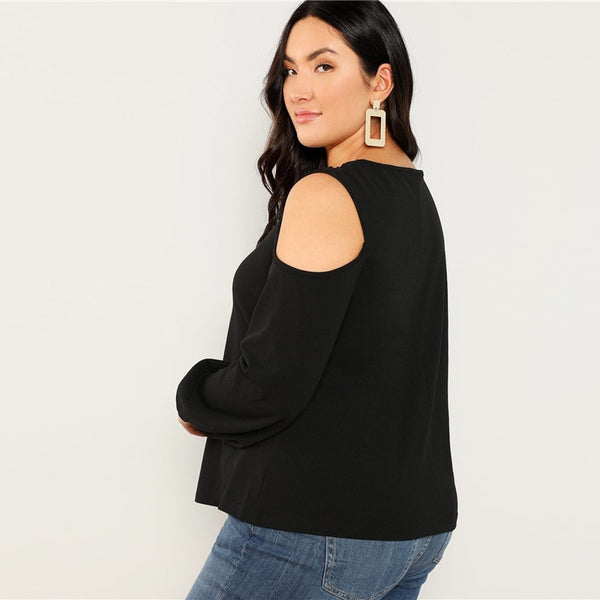 Stringy Cold Shoulder Top