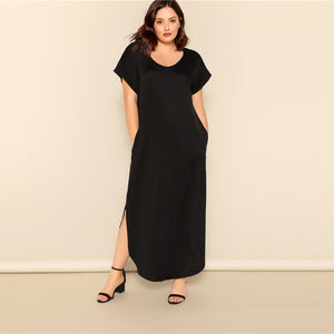 Black Slant Pocket Slit Dress