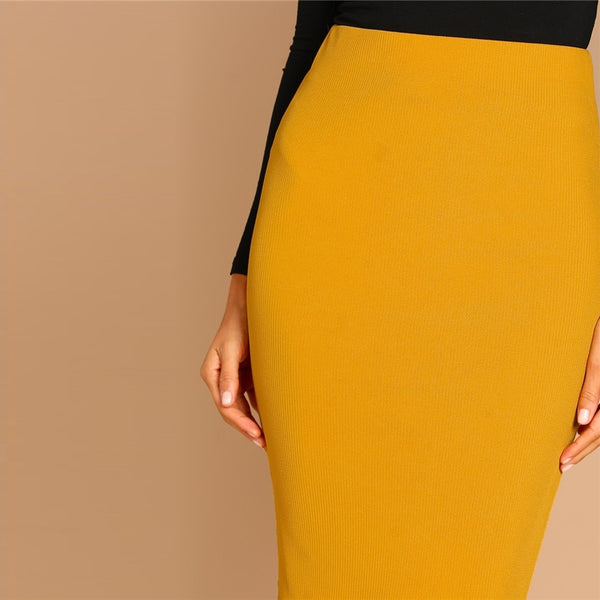 Solid Mid Waist Pencil Skirt