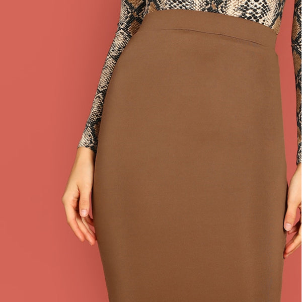 Solid Mid Waist Long Pencil Skirt