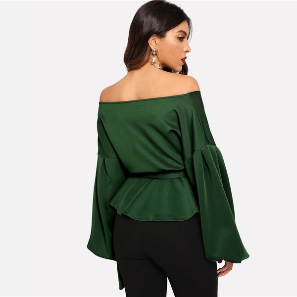 Solid Off Shoulder Lantern Sleeve Belted Top
