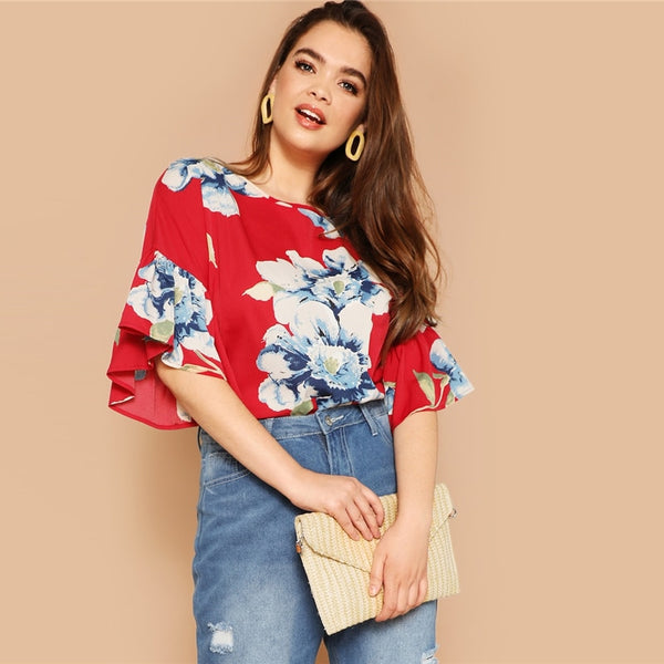 Red Floral Ruffle Sleeve Top