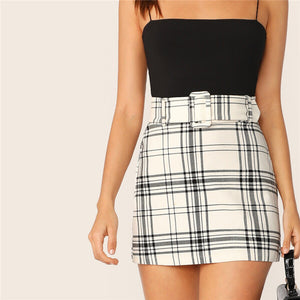 Plaid Buckle Belted Short Skirt