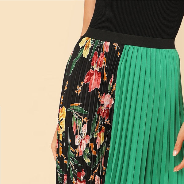 Half-and-Half Contrast Pleated Skirt