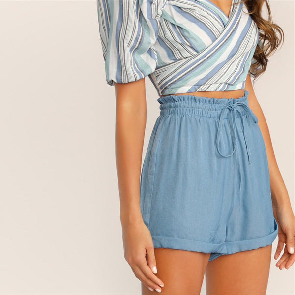 Solid Drawstring Waist Cuffed Short