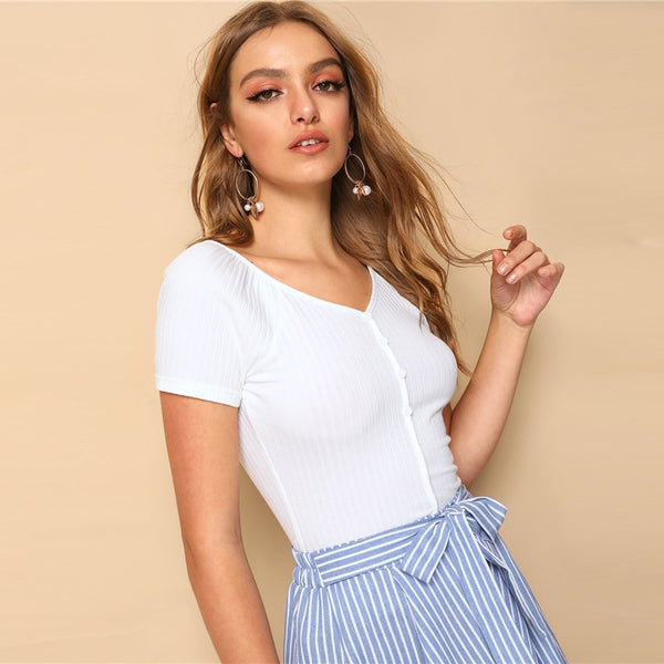 Solid Buttoned V-Neck Top