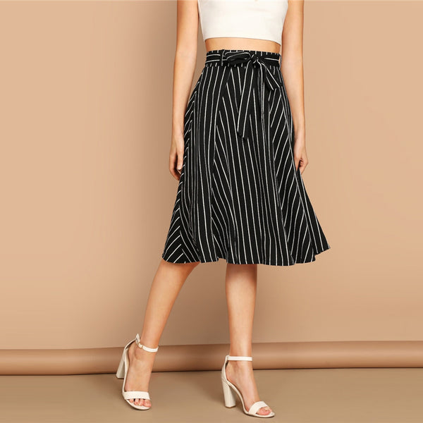 Striped High Waist Belted Skirt