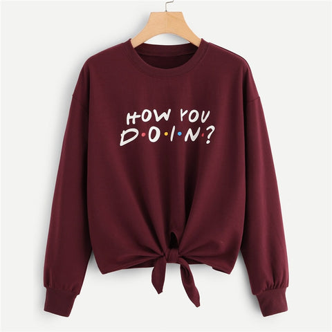 Solid Letter Print Knotted Front Sweatshirt