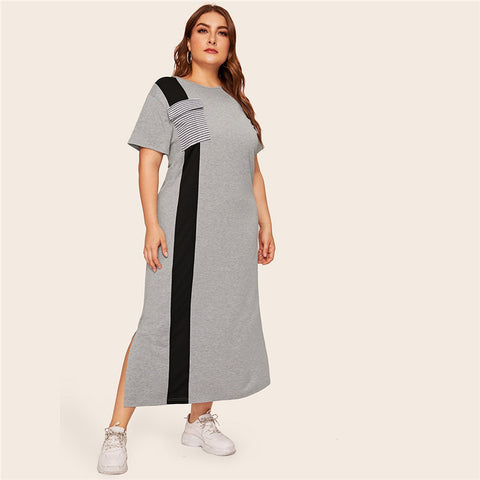 Colorblock Striped Pocket Maxi Dress