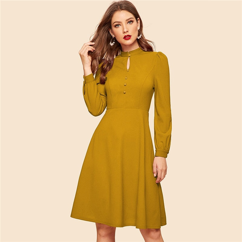 Keyhole Neck Cutout Button Detail Midi Dress