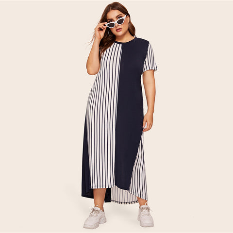 Striped Colorblock High Low Hem Maxi Dress