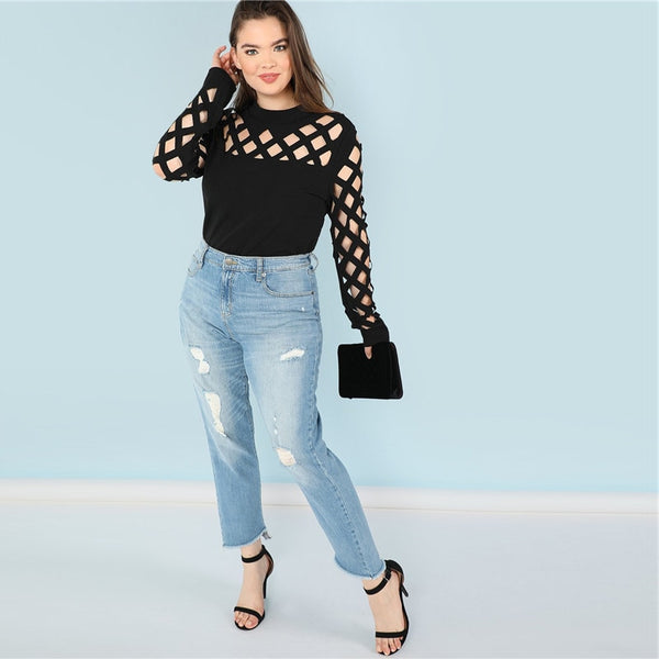Black Square Cutout Long Sleeve Top
