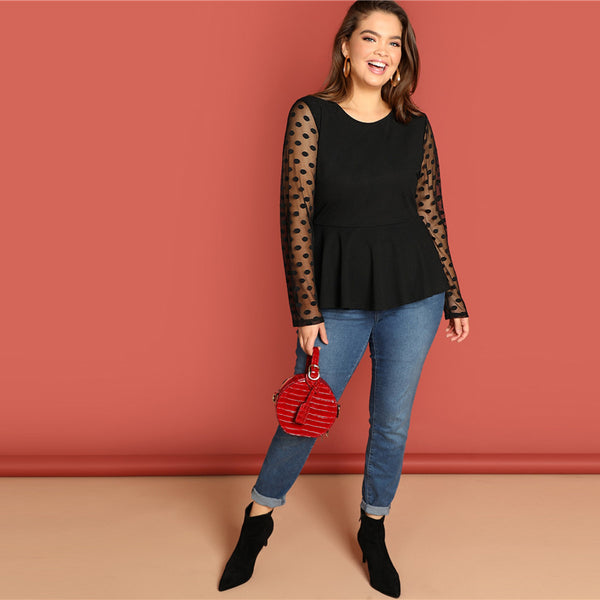 Black Polka Dot Mesh Sleeve Ruffle Hem Top