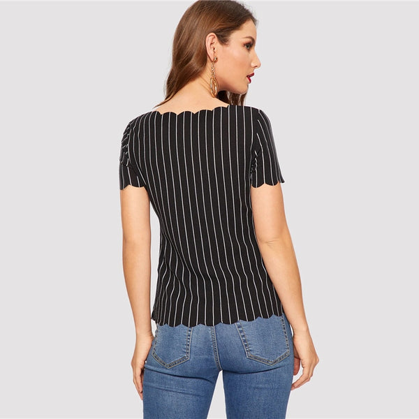 Striped Scallop Trim Short Sleeve Top